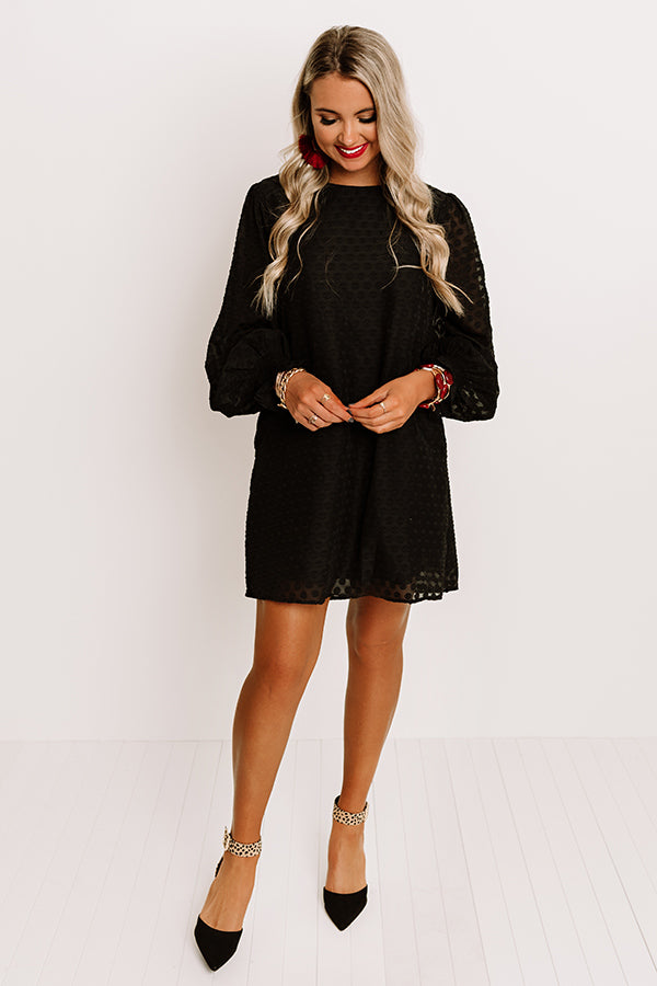 Champagne Flow Shift Dress In Black