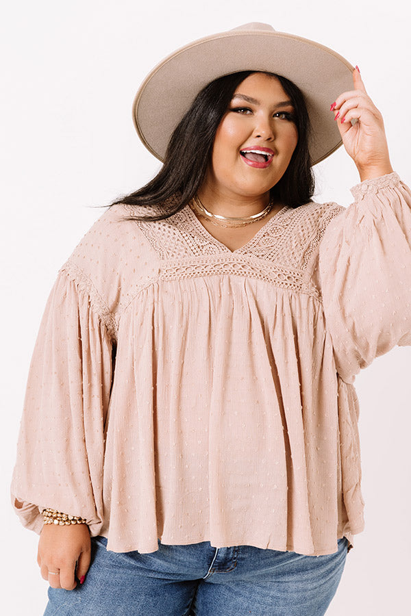 Lovely Novella Babydoll Top In Iced Latte
