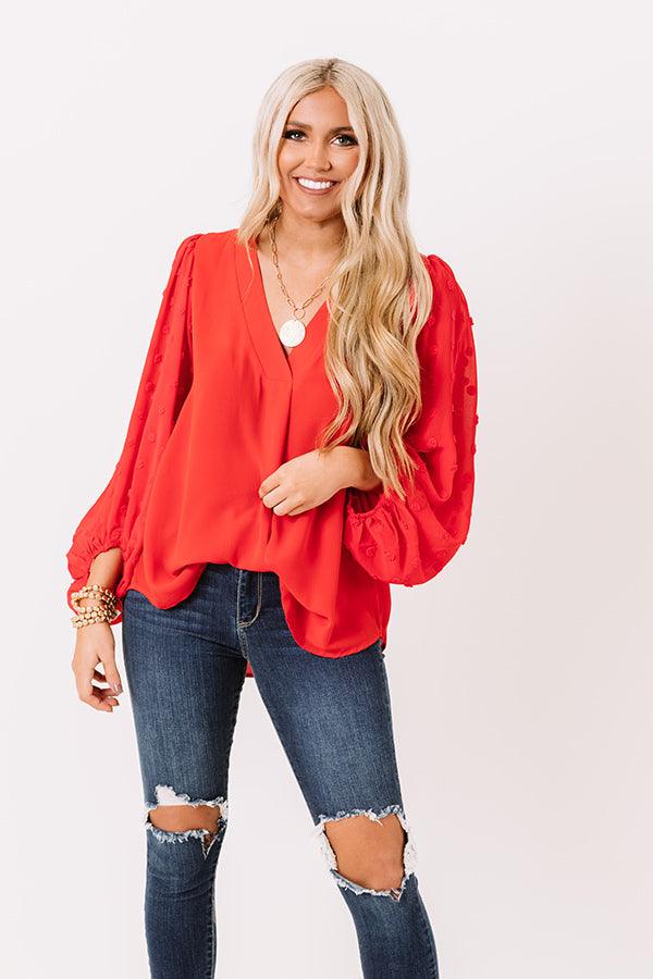 Sweet Poem Shift Top In Red