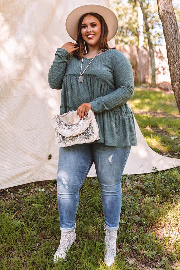 BFF Bond Babydoll Top in Hunter Green