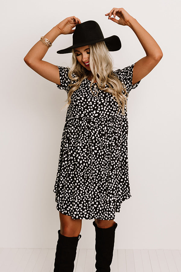 New Moon Leopard Shift Dress In Black