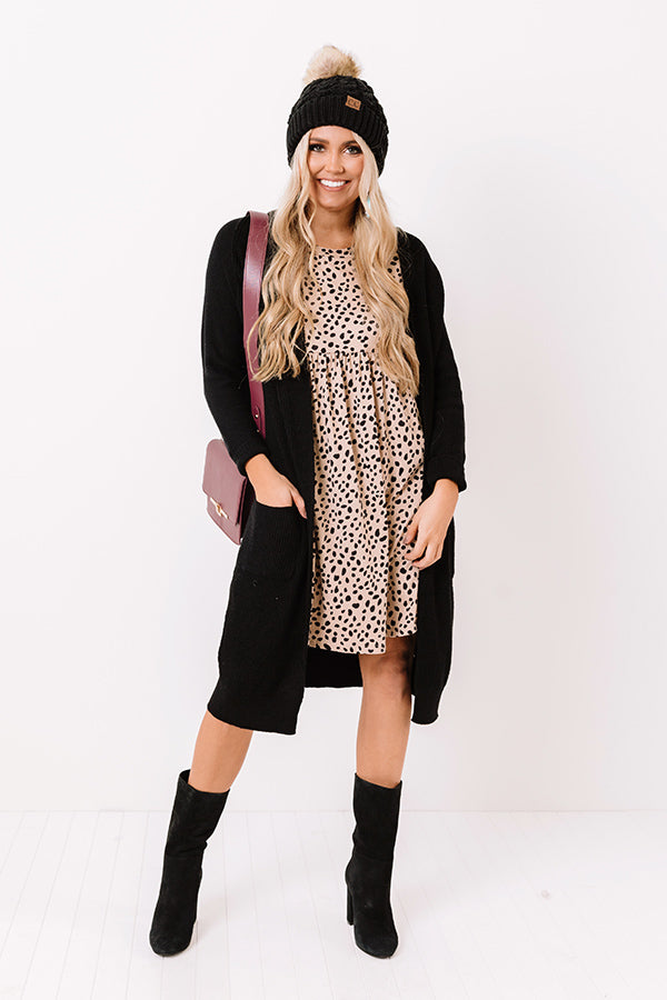 New Moon Leopard Shift Dress In Iced Latte