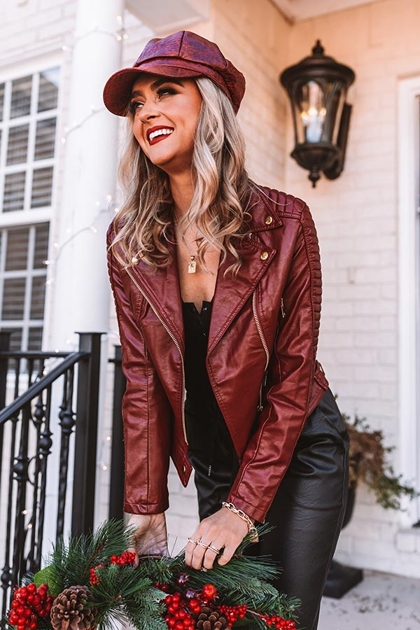 Martini Bar Faux Leather Jacket In Wine