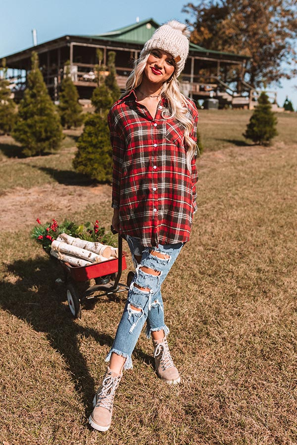 Brulee Babe Flannel Top In Red