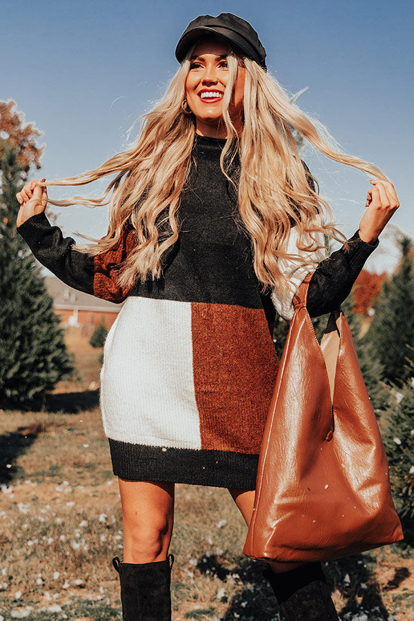 Hello, Harvard Colorblock Sweater Dress In Black