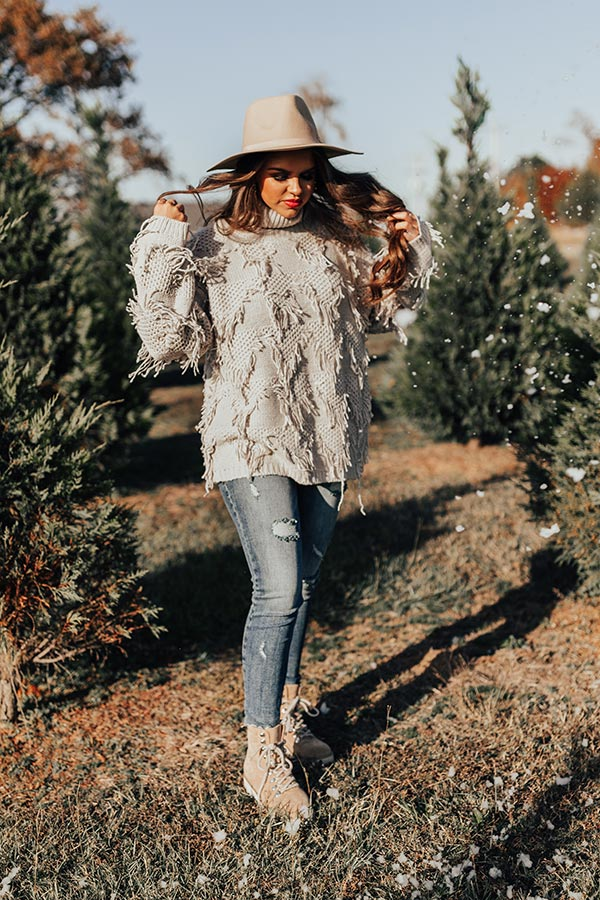 Mood Booster Fringe Sweater In Grey