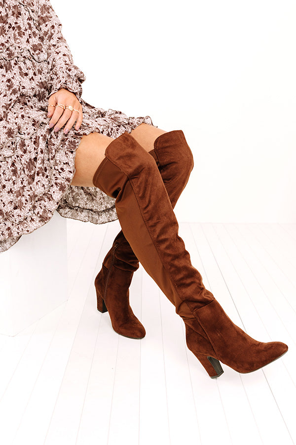 Canyons Over The Knee Faux Suede Boot in Chocolate