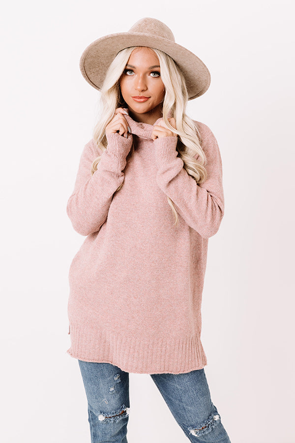 Carriage Ride Knit Sweater Top in Blush