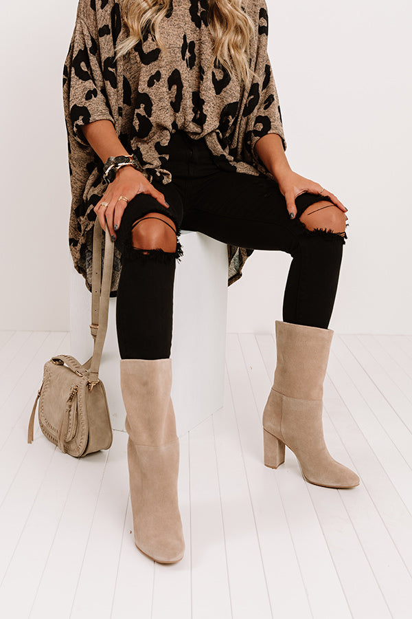 Keep Up Suede Boot in Taupe