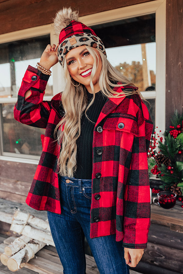 Hot Cocoa Moment Buffalo Check Coat In Red