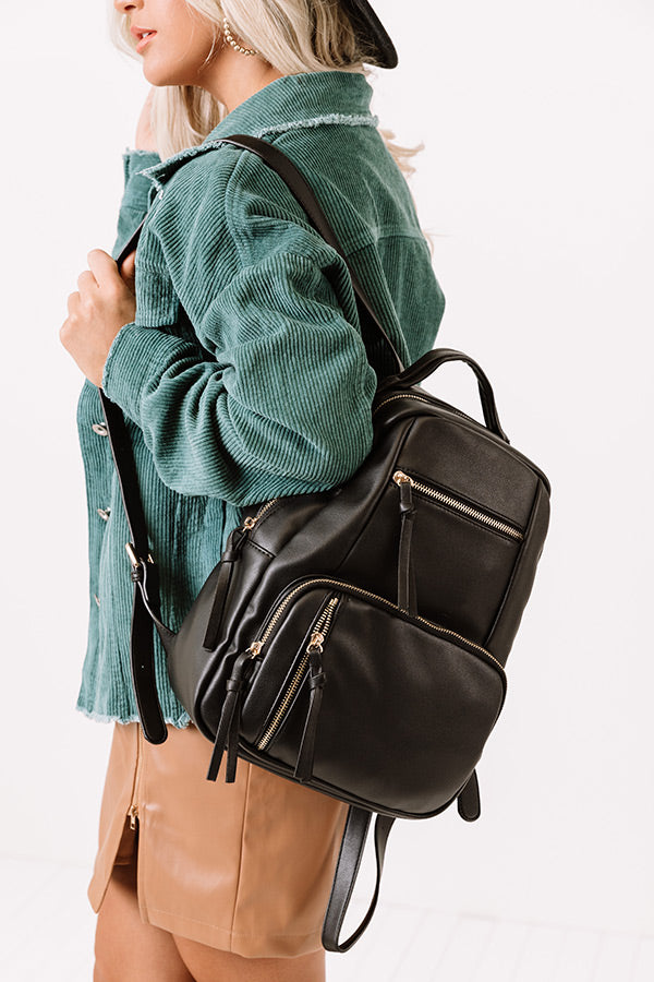 Hiding Out Faux Leather Backpack In Black