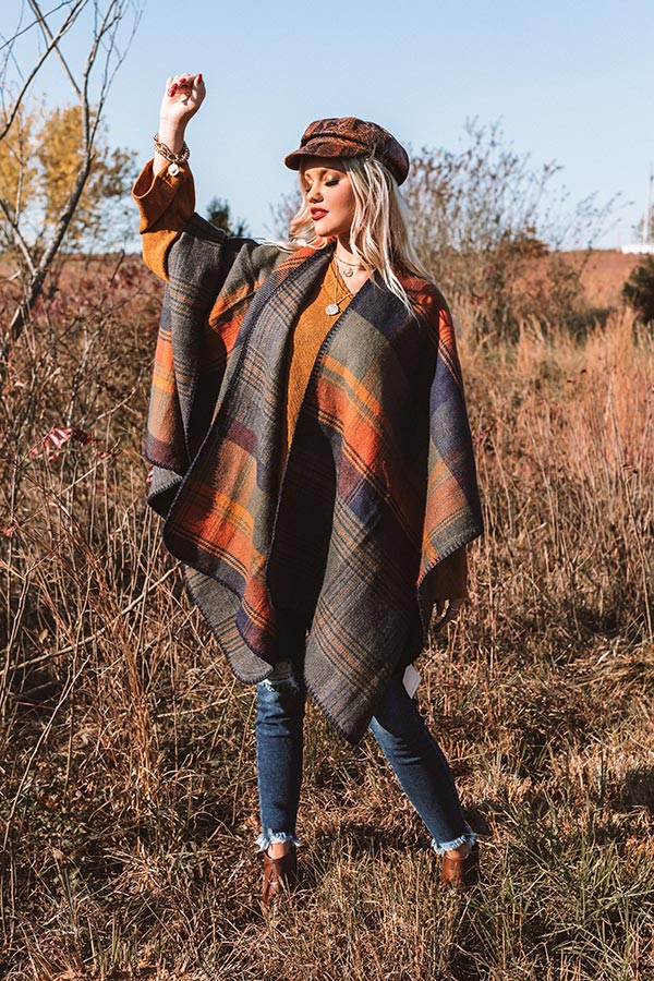 Roman Holiday Plaid Poncho