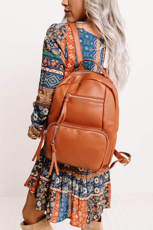 Hiding Out Faux Leather Backpack In Maple