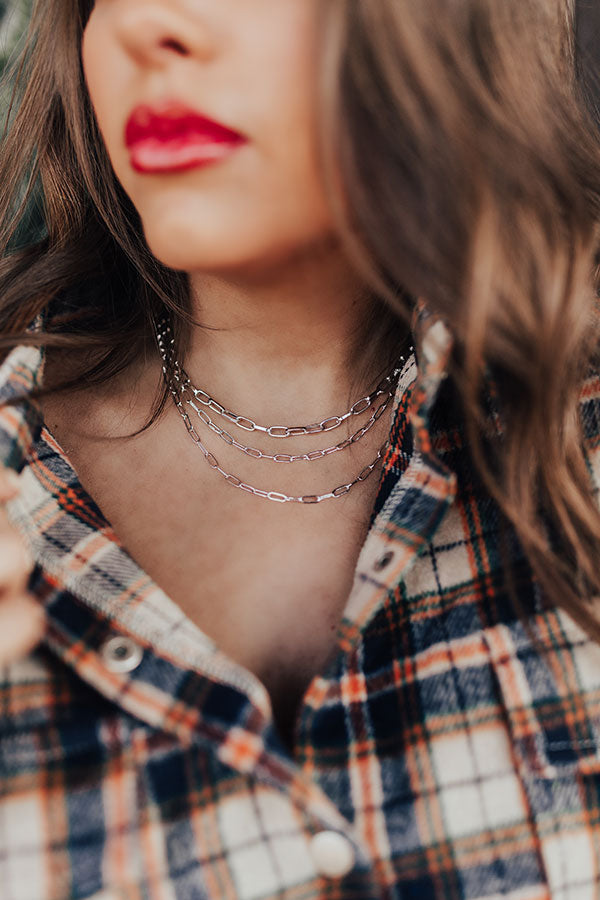 Dulce De Darling Layered Necklace in Silver