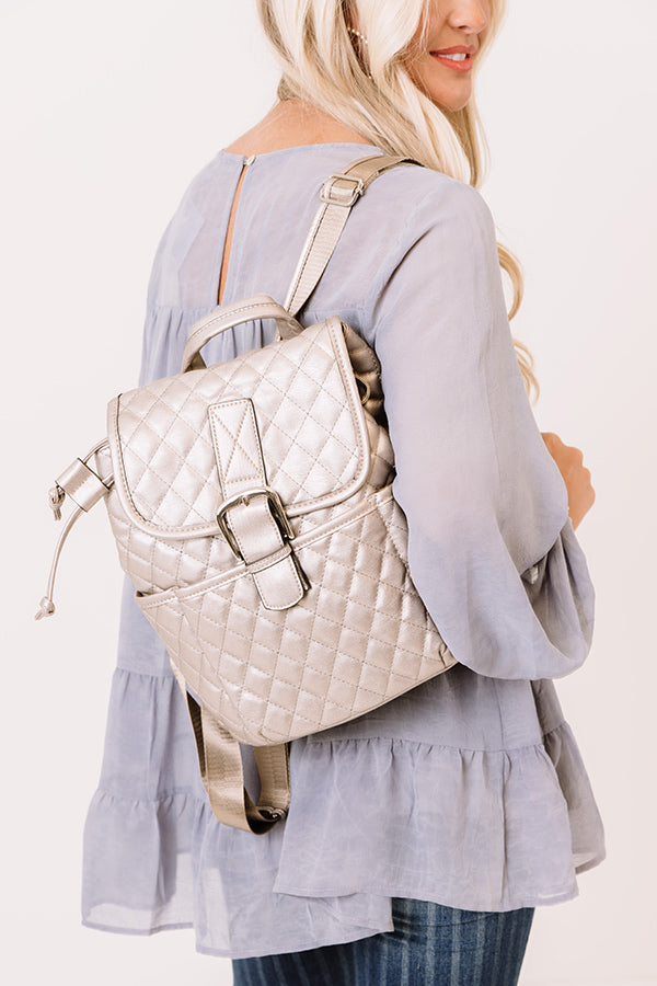 Big Plans Quilted Backpack In Silver