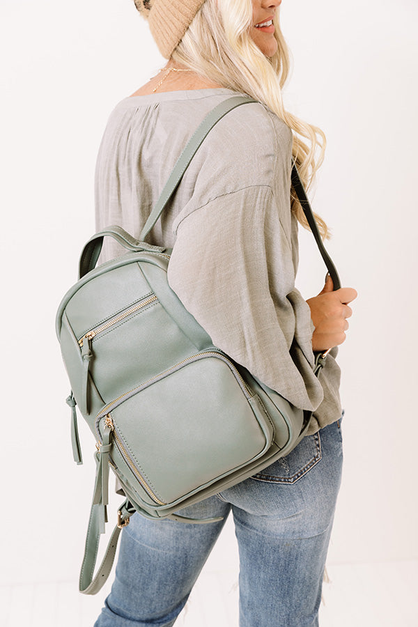 Hiding Out Faux Leather Backpack In Pear