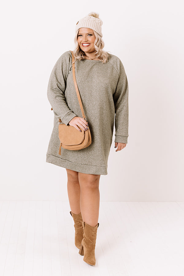 Bonfire Promises Shift Tunic Dress In Sage