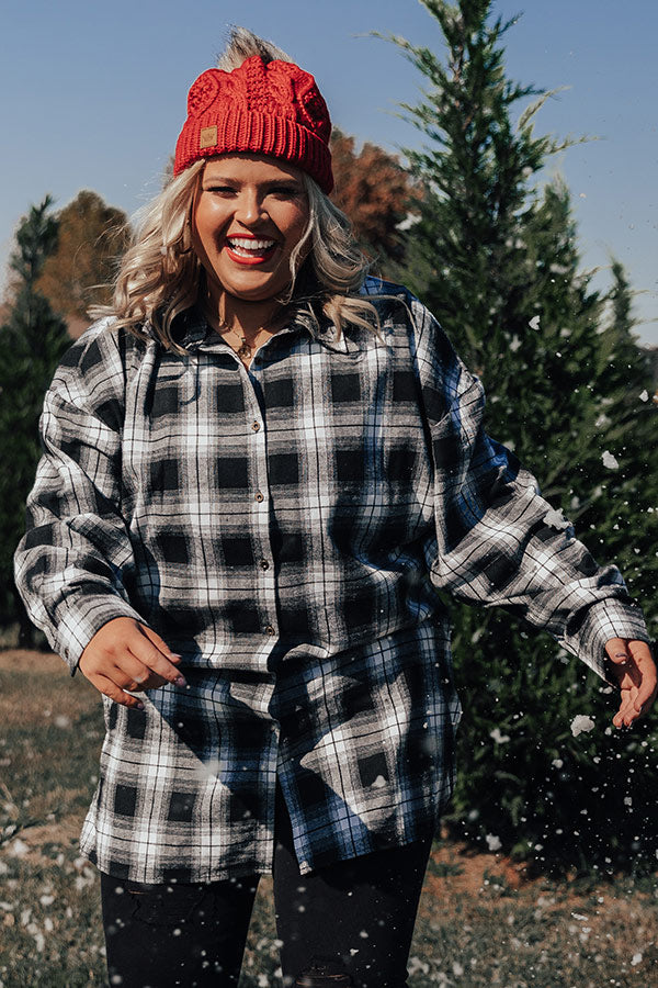 Cottage Vibes Flannel Tunic Top in White