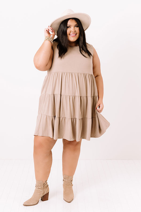 Apple Spiced Wishes Babydoll Dress In Taupe