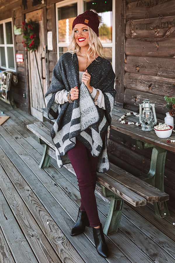 Distance to Denver Poncho In Dark Charcoal