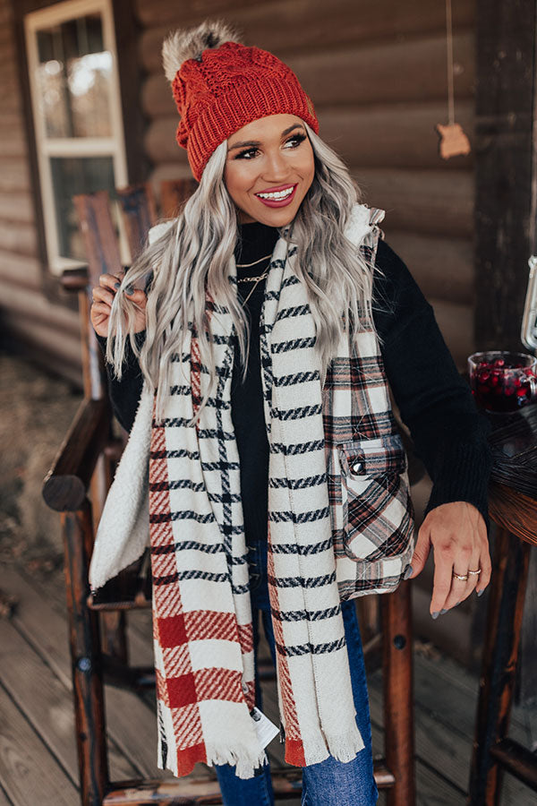 Warming Up Plaid Scarf in Ivory