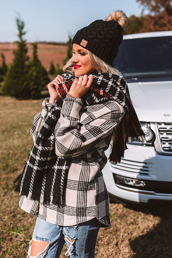 Warming Up Plaid Scarf in Black