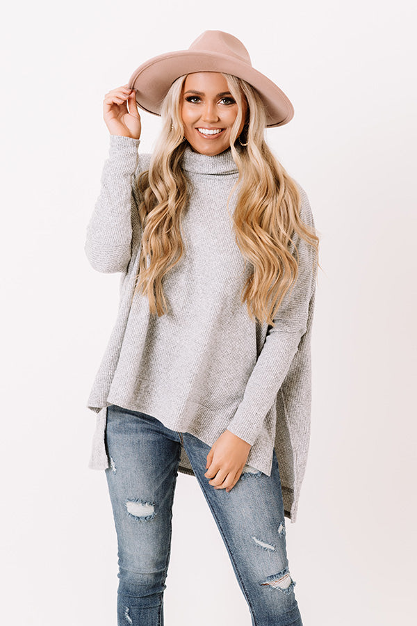 Ticket To Cozy Waffle Knit Tunic In Grey
