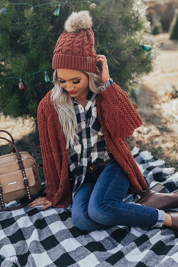 Forevermore Knit Cardigan In Rust