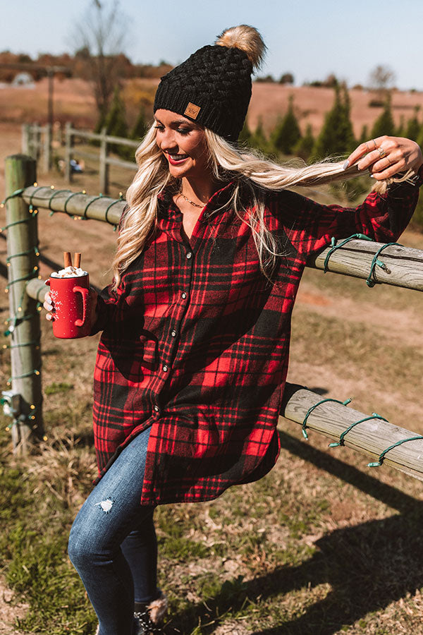 Peppermint Kisses Flannel Tunic Dress in Red