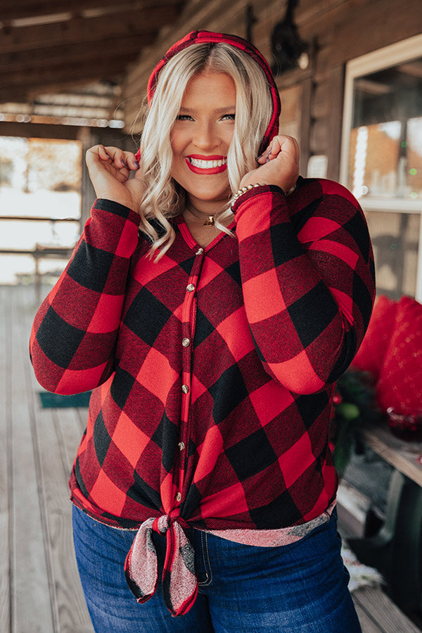 Hometown Holiday Checkered Front Tie Top
