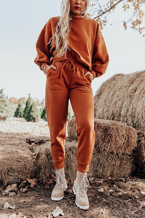 Cozy Aesthetic Joggers in Pumpkin