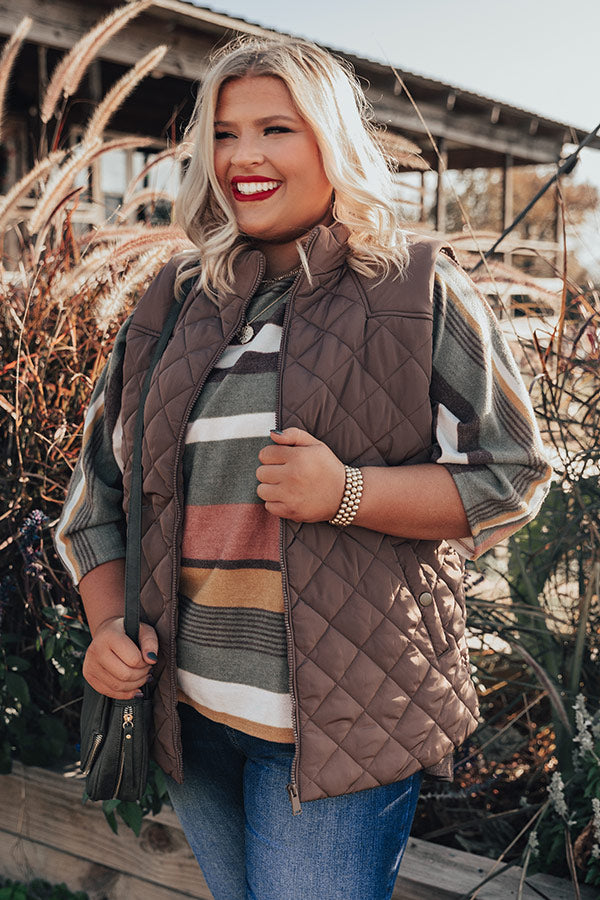 Big Bear Lake Quilted Vest in Mocha