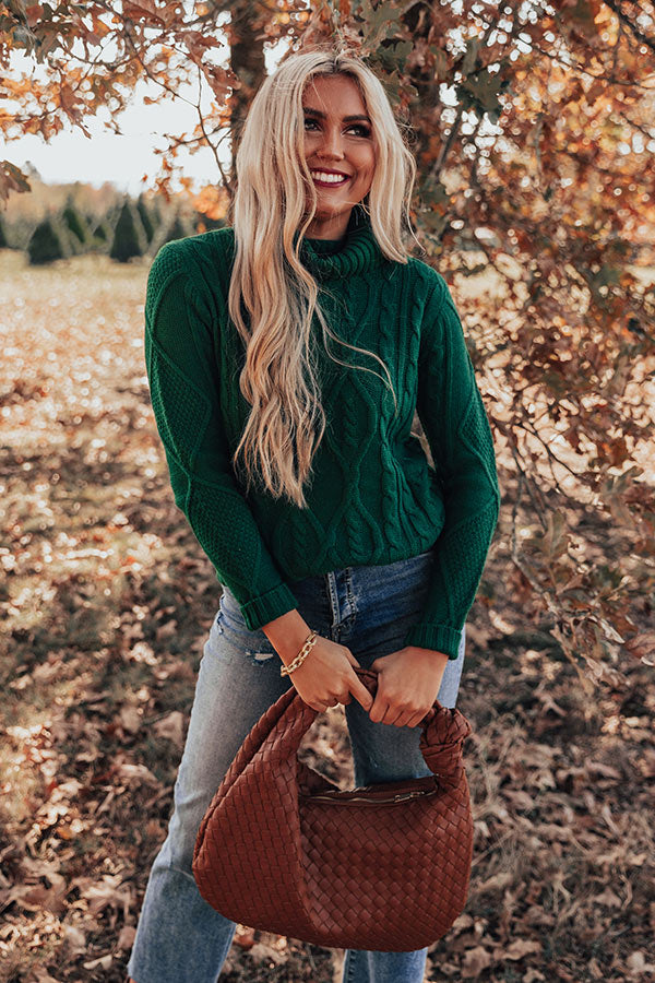 Catchup Over Coffee Cable Knit Sweater in Hunter Green