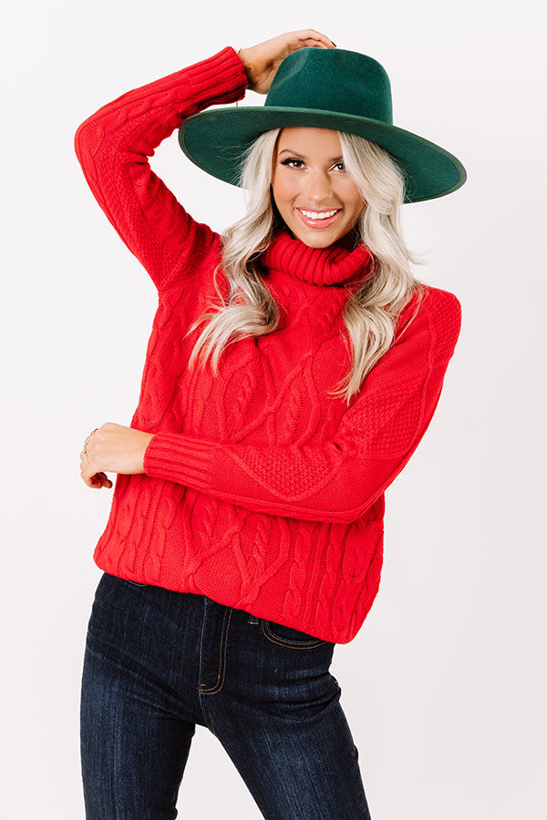 Catchup Over Coffee Cable Knit Sweater in Red