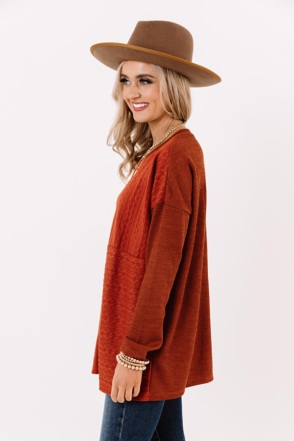 Great News Knit Shift Top in Rust