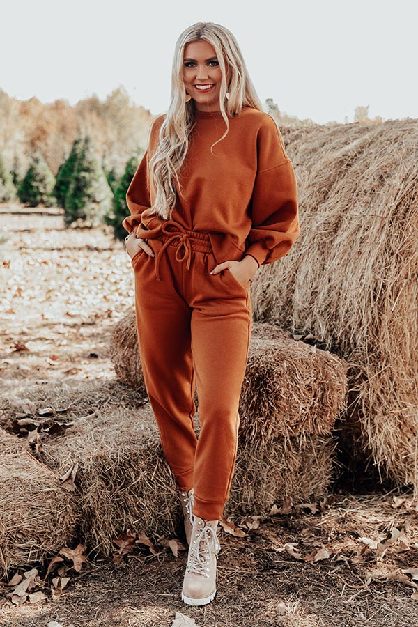 Cozy Aesthetic Sweatshirt in Pumpkin
