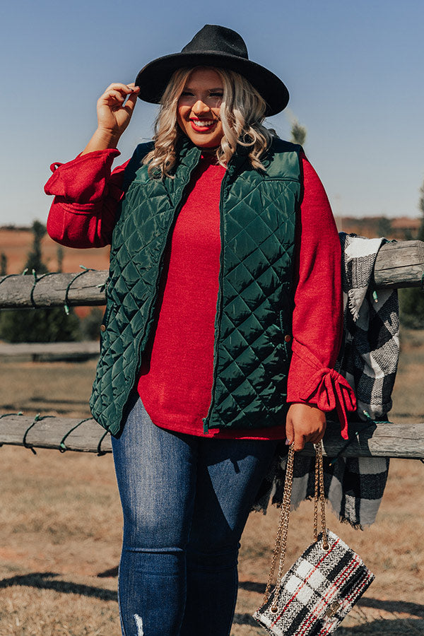 Big Bear Lake Quilted Vest in Hunter Green