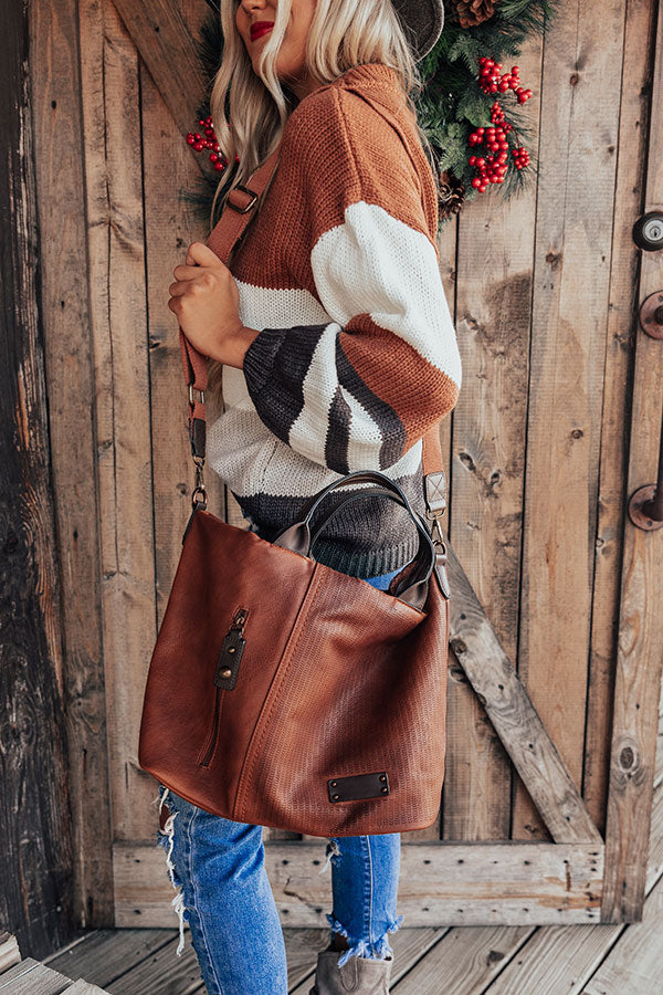 Dapper Darling Faux Leather Tote In Brown