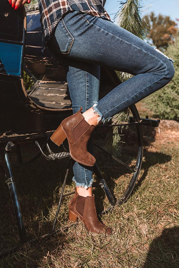 The Ollie Faux Suede Bootie In Chestnut
