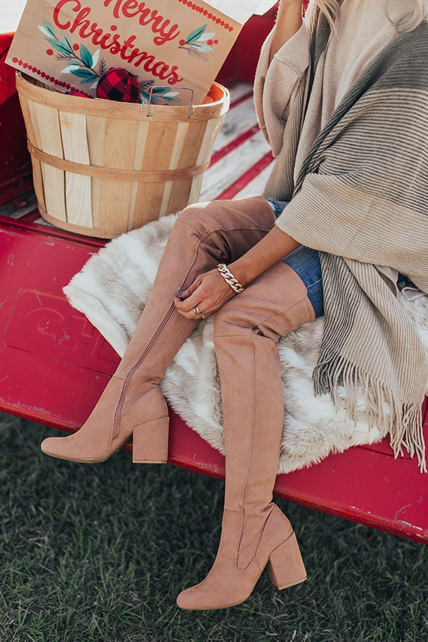 The Jovi Faux Suede Thigh High Boot In Latte