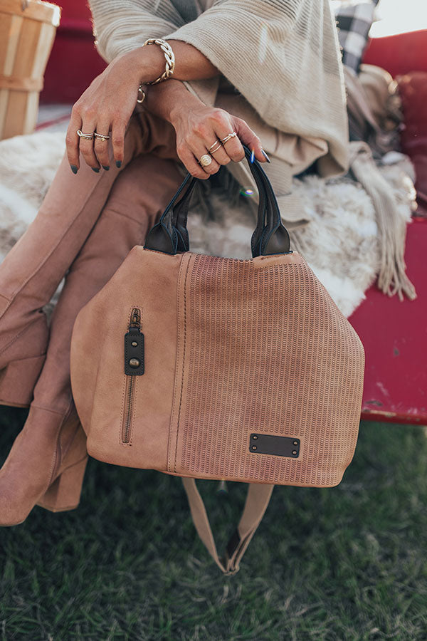 Dapper Darling Faux Leather Tote In Tan