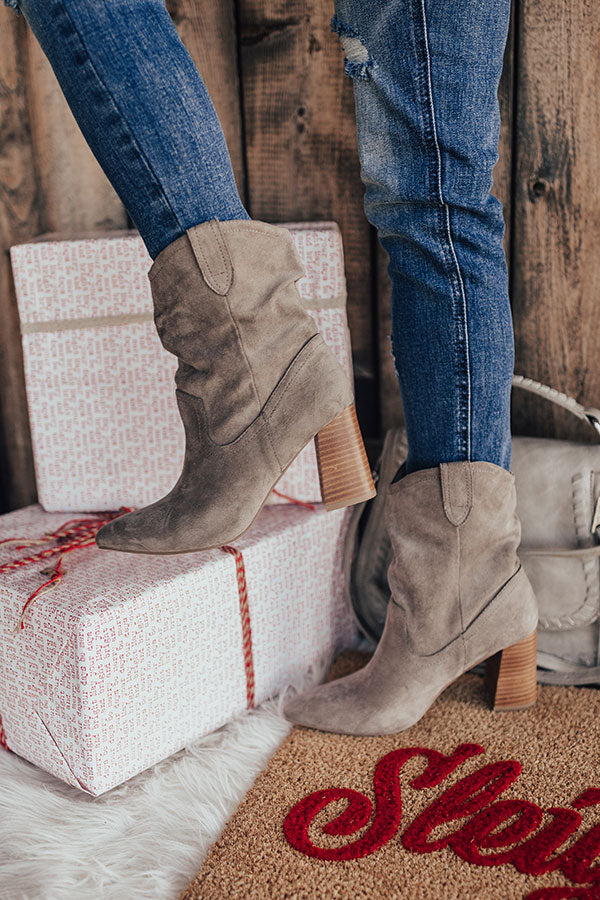 The Valley Faux Suede Ankle Bootie In Grey