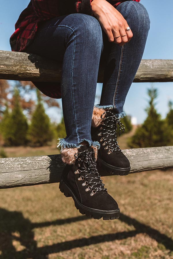 Winter Lane Faux Nubuck Boot In Black