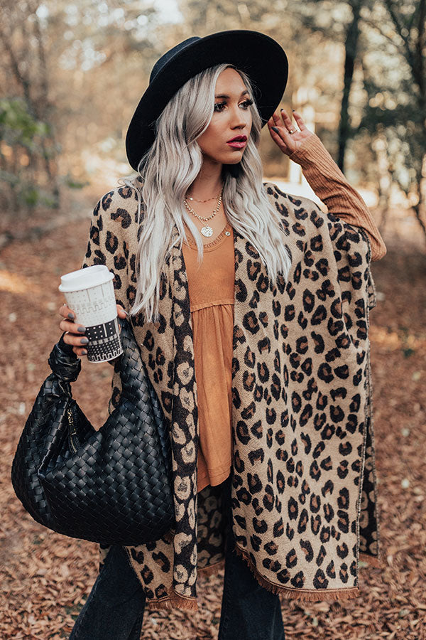 Mutual Attraction Leopard Poncho In Beige