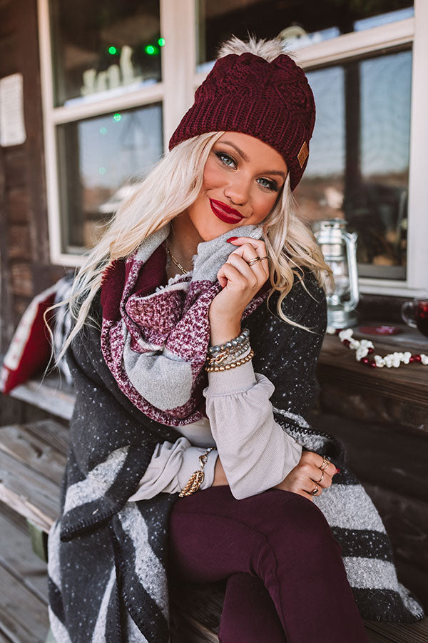 Snow Ski Infinity Plaid Scarf In Merlot