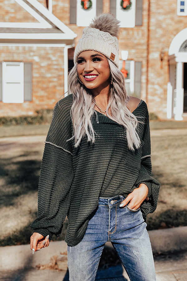 Forever Fall Waffle Knit Top in Olive