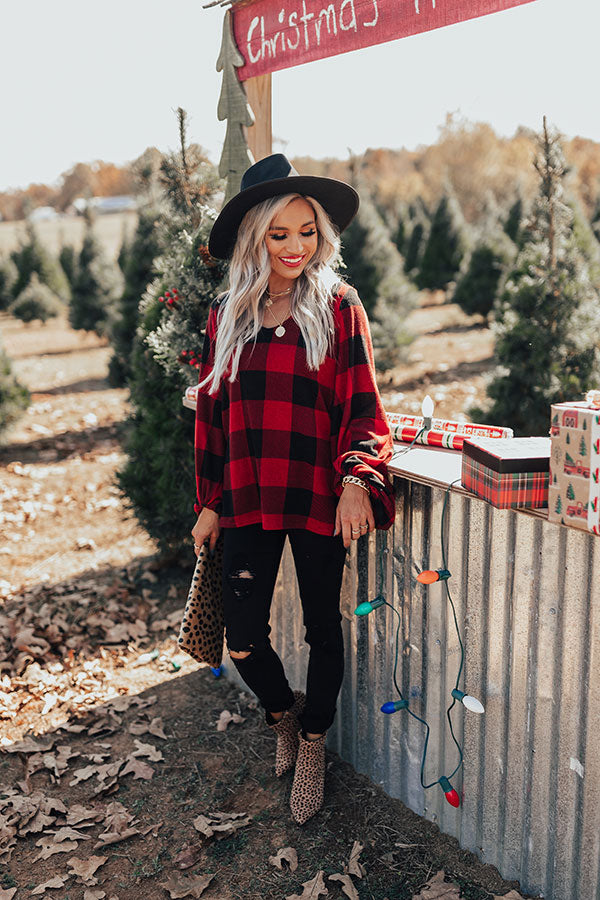 Holiday Gorgeous Buffalo Check Shift Top