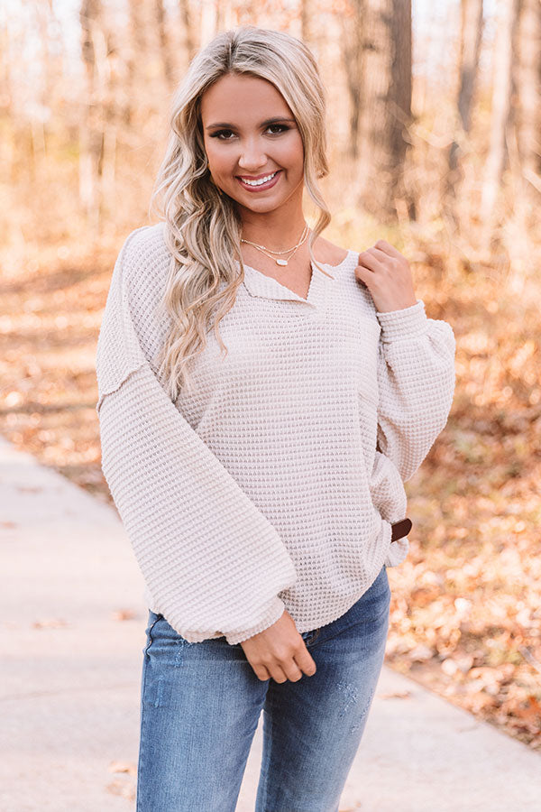 Forever Fall Waffle Knit Top in Birch