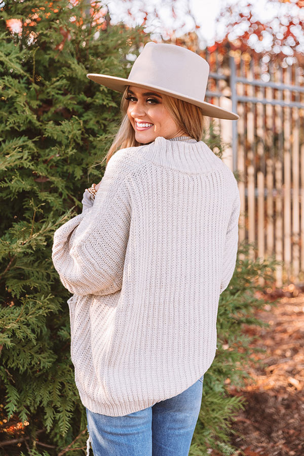Hot Cocoa Crushing Knit Cardigan In Stone