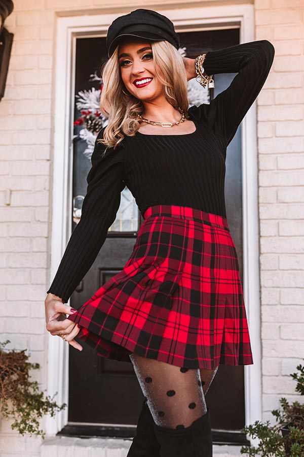 The Alana Plaid Skirt In Red